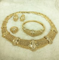 Wholesale Electroplate Necklace - 100% quality assurance! Electroplating 18K imitation gold jewelry necklace earrings bracelet ring set 2016 new design 4 pieces of jewelry se