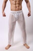 erkekler seksi uyku pantolon toptan satış-Erkekler için erkekler Uyku Salonu seksi örgü pantolon Katı erkek dipleri sırf Nefes Erkekler Seksi Eşcinsel Aşınma giymek pantolon rahat Siyah M-2XL