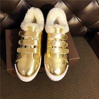 Inverno Hookloop Casual Shoes Donna Warm Plush In Muffin Bottom Thick Bottom Tempo libero Scarpe Flat All Match Scarpe Black White Gold