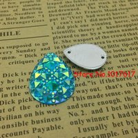 Wholesale Sew Rhinestones 18x25mm - 18x25mm 1500pcs Resin Crystals Beads Aquamarine AB Rhinestones Gem Stones Jewellry Accessores Loose Beads Strass Sew on