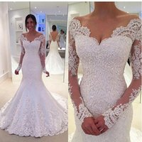 Modest V Neck Sheer Manica Lunga White Mermaid Abiti da sposa Sexy Backless Applique Pizzo Boho Abiti da sposa Custom Made Vestido De Novia