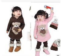 Wholesale Wholesale Hot Pink Cotton Hoodies - Korean Kids Clothes Kids Clothing Girls Pink Beige Coffee Hoodies Pure Cotton Hot Sale Free Shipping