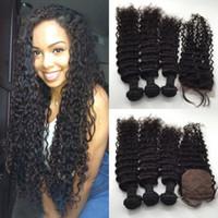 Wholesale way closure bundles resale online - Free Middle Way Part Silk Base Lace Closure x4 With Virgin Peruvian Wet And Wavy Human Hair Bundles Natural Color pc