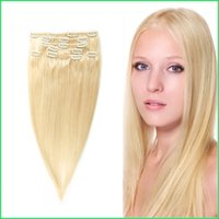 Wholesale Straight Hair Extensions Clips - #613 Clip In Straight Human Hair Extensions,7Pcs Set Platinum Blonde Clip On Brazilian Virgin Remy Hair Weaves,Instant Top-up Clip Ins