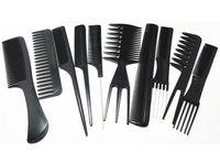 Wholesale Comb Hair Carbon - Wholesale-10 pieces set Carbon Anti Static Comb Kit, Fine Cutting Grip Comb, Winding Tail Comb Black Color