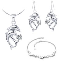 Wholesale Dolphin Pendent - Free Shipping Ladies Necklace and Earrings Set Jewelry Sets Girls Ladies Bracelets Sliver Earrings Dolphin Pendent Ulove T159