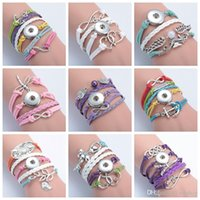 40 Stili Snap Button Bracciali Multilayer Bracciali in Pelle di Cuoio Argento Cross Anchor Love Infinity Horse Horse Knitting Diy Charm Bangles
