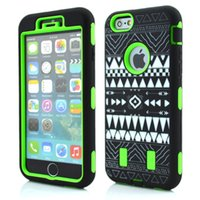 Wholesale Aztec Silicone Iphone Covers - 3 in 1 Aztec Tribe Tribal Vintage Hybrid silicone Gel + PC hard Plastic Case For iphone 6 4.7inch Plus 5.5inch Camo Skin Cover free 50