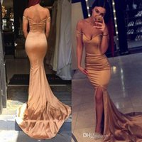 Wholesale Short Rose Pink Prom Dress - 2018 New Rose Gold Off Shoulder Long Prom Dresses Sexy Mermaid Side Split Evening Dresses Wear Cheap Formal Floor Length Party Gowns