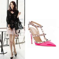 Wholesale Black Studded Pumps - HOT SALE Women High heels shoes Ladies Sexy Pointed Toe Fashion Buckle Studded Stiletto High Heels Sandals Shoes pumps