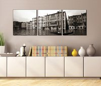 Wholesale Pier Wall - 3 Pieces Free shipping Wall Painting Art Picture Paint on Canvas Prints Venice Seaside wooden pier ship Big Ben Buddha Shakya Muni buildings