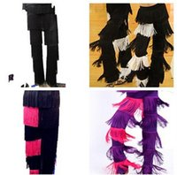 Zebra-stripe black samba pants - New Discount Cheap Women Ladies Girls Black Red Purple Blue White Fringe Latin Dance Pants Jazz Samba Fringe Dance Pants