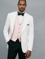 Wholesale White Shawl Lapel Suit - Custom Made One Button White Groom Tuxedos Shawl Lapel Groomsmen Mens Wedding Prom Suits (Jacket+Pants+Vest+Tie) H288