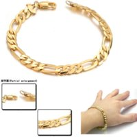Wholesale Agate Bangles - Classic Figaro Chain Bracelet Fashion Wholesale Jewelry 18K Real Gold Plated 4 MM Link Chain Bracelets Bangles Men Jewelry