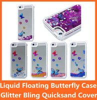 Wholesale Mobile Butterflies - Liquid Floating Bling Glitter Butterfly Flower Running Dynamic Quicksand Clear Hard Case for iPhone 5 5S 6 i6 4.7 Plus 5.5'' Mobile PC Cover