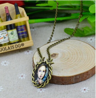 Wholesale Deer Oval - 2014 Vintage Jewelry Fashion Cabochon Necklace Antique Bronze Oval Flower Girl tree Deer Alloy Pendant Chain Necklace 20pcs lot