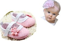 Wholesale Cheap Toddler Flower Girl Shoes - 10% cheap pink Dot First Walkers 2015 Baby kids Toddler Shoes infant Spring Autumn Flower Soft Sole Girl Shoes,3pcs shoes+3pcs hairband,6pcs