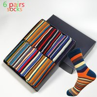 Venda por atacado - 2017 Time-limited New Standard Cotton Casual Meias para homem A Man's Color Striped Socks Os últimos produtos Popular 6 Pairs No Box