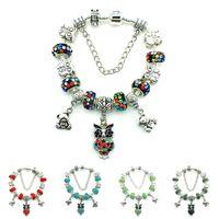 Wholesale Glass Owl Beads - Fashion Owl Charm Bracelets Infinity Silver Plated Chain Rhinestone Glass Beads For Women DIY European Brand Bracelets Jewelry
