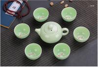 Wholesale Bone China Teapots - 7pcs Chinese Longquan Celadon Porcelain Teacups teapot Tea Cup teacup Bowl Golden Fish China teaset Tea Pot Crackle Tea Set