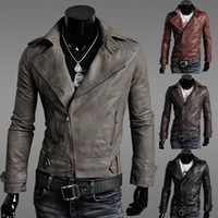 Wholesale Brown Denim Jacket For Men - Winter Jackets For Men Outdoor PU Brown Black Fall Winter Spring long Motorcycle Soft Shell leather sleeve denim Mens Jackets ZJ1465