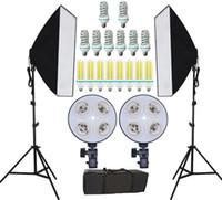 equipo fotográfico al por mayor-Envío gratuito NUEVO estudio fotográfico Fotomontaje continuo kits de softbox Equipo fotográfico y soporte de 4 lámparas dobles Estudio difusor fotográfico