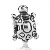 Wholesale turtle charms for bracelets - New! Wholesale Lovely Turtle Charms 925 Silver European Charms Beads for Snake Chain Bracelet Fashion Jewelry#027