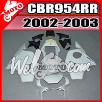Wholesale Honda Cbr 954 Plastics - In Stock Welmotocom Injection Mold Unpainted(Unpolished) Fairings For Honda CBR954RR CBR 954 RR CBR 954RR 2002 2003 02 03 H95W00