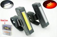 ingrosso luce posteriore del casco della bici-USB di alta qualità ricaricabile Head Light COB Bici anteriore della bicicletta Rear Rear Helmet Lampada Manubrio Frame tube Lampeggiante 6 Mod luci