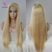 Wholesale Human Hair Super Long Wig - Super quality blond human hair wigs straight 7a grade blond indian full lace human hair wigs 130%density free shipping