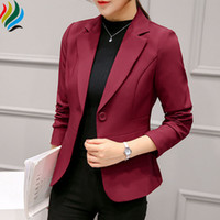 Wine Red Women Blazer e giacche 2017 New Fashion manica lunga singolo pulsante Suit Blazer donna Top Casual nero Short Outwear