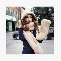 Wholesale Hat Glove One - Wholesale-South Korean female winter hat plush thick warm cashmere hooded scarves hats gloves one hat free shipping