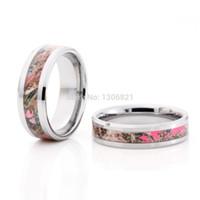 rosa camo stile großhandel-Wholesale-2015 neue Art rosa Baum Camo Inlay Wolfram Paar Ringe Camo Ringe Camo Hochzeit Ringe