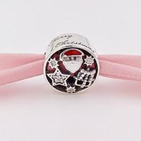 alegria natal venda por atacado-Authentic 925 Sterling Silver Beads Alegria De Natal Encantos Se Encaixa Pandora Estilo Europeu Jóias Pulseiras Colar 796364CZ