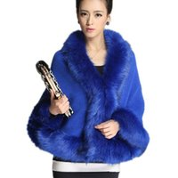 Wholesale Ladies Batwing Poncho - Wholesale-2015 Fashion Women V Neck Faux Fur Poncho Coat Full Batwing Sleeve Loose Women Winter Coat Ladies Elegant Outwear Solid Color