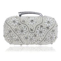 New Fashion Pearl Flower Beaded Rhinestones Mulheres Evening Bag Com Handle Lady Clutch Shoulder Bag Bolsa de bolsa de corrente para festa de casamento
