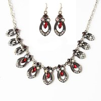Wholesale Crystal Earrings For Sale - Whole Sale Red Rhinestone Romantic Necklace Earrings Set For Party And Anniversary Luxury Necklace for Women
