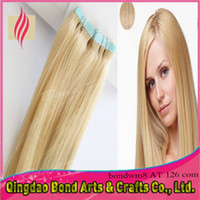 Wholesale Cheapest Tape Hair Extensions - Cheapest indian remy tape human hair extensions! PU tape hair extensions 2.5g pc #613 blonde color extension hair tape