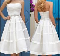 Wholesale Short Empire Wedding Dress - 2017 Sexy Strapless A Line Short Wedding Dresses Tea Length Pleats Bach Wedding Gown Backless Empire Waist Wedding Bridal Party Gown