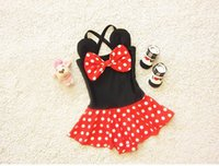 Wholesale Swim Suits For Girls - 2016 New Girl Swimwear Cartoon Minnie Bow Polka Dot One Piece Swimming Suit For 1-8 Years 1638