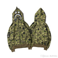 Wholesale Long Sleeve Batwing - Autumn Men's Camouflage Shark Mouth Print Hoodies Sportswear Army Green Tracksuit Zipper Sweatshirts Fashion Hip-Hop Hoodie Lover'