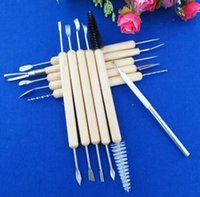 Wholesale Modeling Clay Crafts - 11pcs 1set Wood Handle Wax Pottery Clay Sculpture Carving Modeling Tool DIY Craft