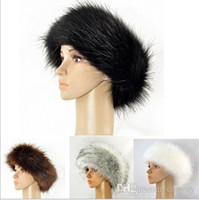 Wholesale Church Headband Hat - Womens Faux Fox Fur Hat Headbands Caps Winter Autumn Fashion Long Hair Fur Hair Accessories 11 Colors Head Loop Warmers Free Shipping WH21