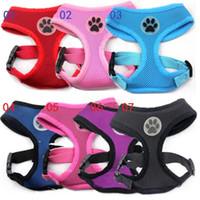 Wholesale Design Pets Belt - 20pcs New design Soft Air Mesh pet Dog Harness with Paw Label Popular Pet Harness belt