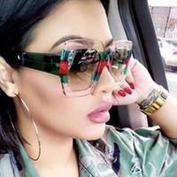 grandes armações de óculos quadrados venda por atacado-OEC CPO2019 Marca de Moda Itália Oversized Quadrado Óculos De Sol Das Mulheres Designer de Moda Retro Big Frame Óculos de Sol Feminino Rosa Verde oculos L153