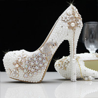 Wholesale Ivory Beaded Wedding Shoes - Fashion Luxury Pearls Crystals Rhinestone White ivory Wedding Shoes Size 12 cm High Heels Bridal Shoes Party Prom Women Shoes Free Shipping