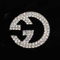 Wholesale Pins Suit - Multistyle Luxury Brand Designer Double Layer Rhinestone Pearl Brooch Women Letters Suit Lapel Pin Jewelry Accessories Gift Free Shippping