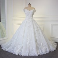 Wholesale Colorful Beaded Plus Size Dress - Lace Ball Gown Wedding Dresses Off the Shoulder Arabic Dresses Vintage Lace Beaded Crystals Appliques 3d Foral Flowers Luxury Bridal Gown
