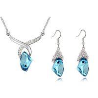 Wholesale bohemian korea jewelry resale online - Austria Crystal Necklace Earrings Sets Fashion Women Top Quality Necklace Set South Korea Full Rhinestone Jewelry Sets