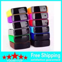 Wholesale Kids Unisex Silicone Strap Watches - Gift Unisex Mens Womens Watches LED Watch Date Sports Bracelet Digital Watch Kids Candy Silicone Strap Touch Watches